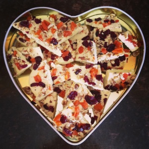 White Chocolate Bark with Dried Fruits and Walnuts
