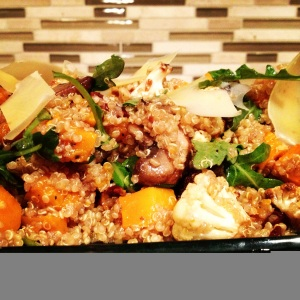 Quinoa Salad with Arugula, Mushrooms, Roasted Squash, Cauliflower and Tart Cherry Vinaigrette