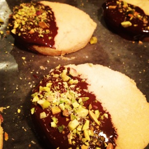 Shortbread Dipped in Dark Chocolate with Pistachio and SeaSalt