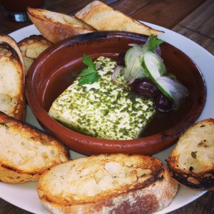 Lula Cafe's Baked French Feta with Jalapeno Basil Oil- might as well be heroin