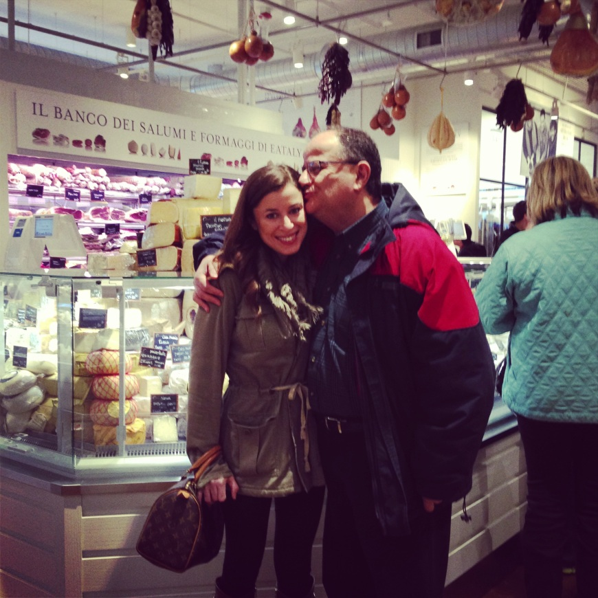 Dad and I at Eataly pre-mozzarella intake