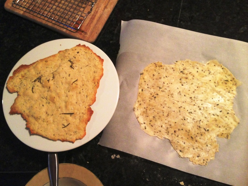 Baked flatbread/rolled out raw dough before and after shot