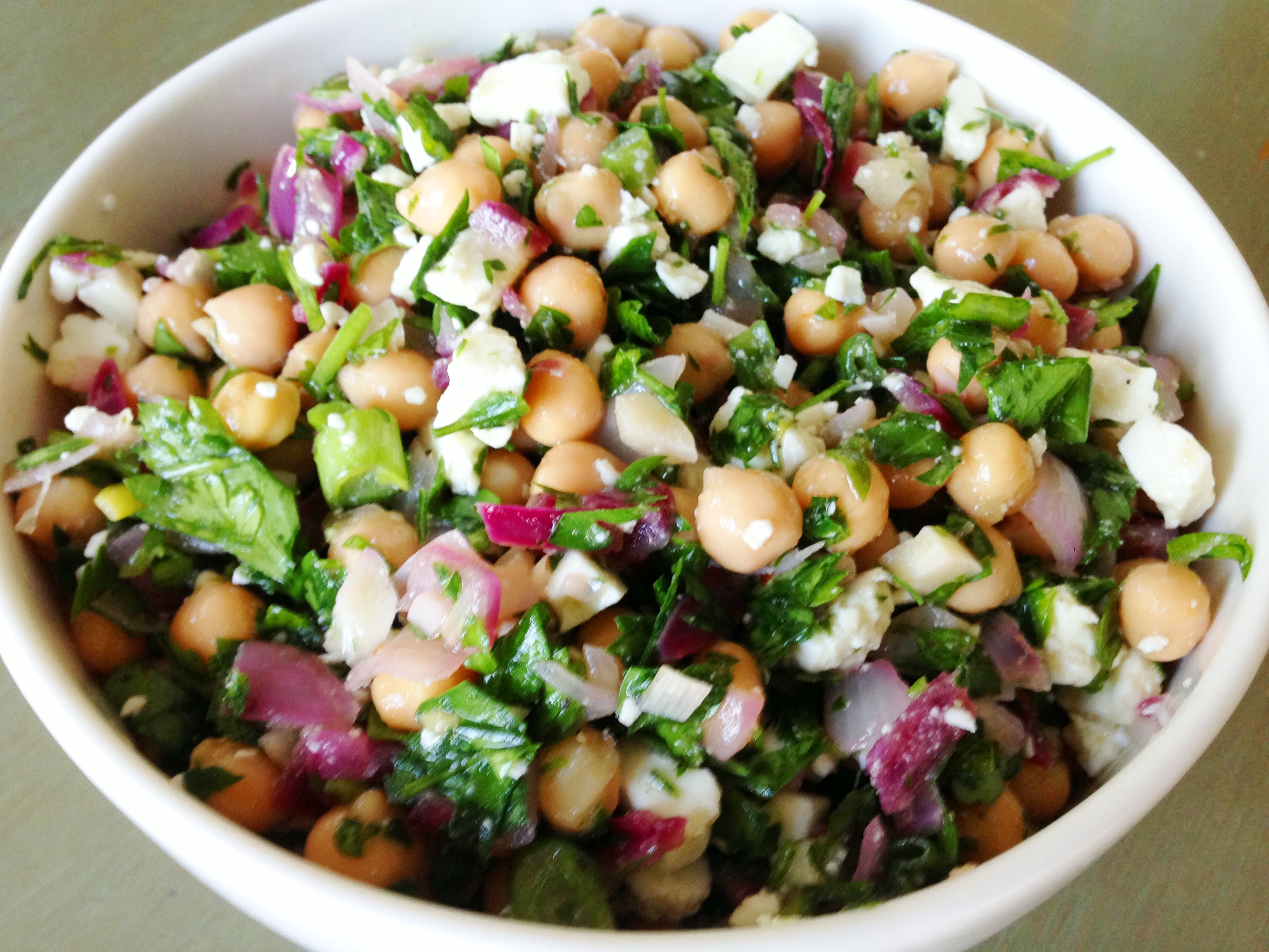 Chickpea Feta Salad with Herbs | Outside the Cereal Box