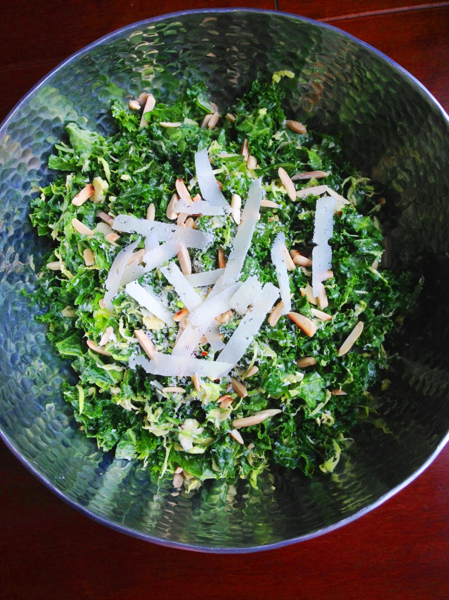 Raw Kale and Brussels Sprouts Salad with Creamy Tahini Dressing ...